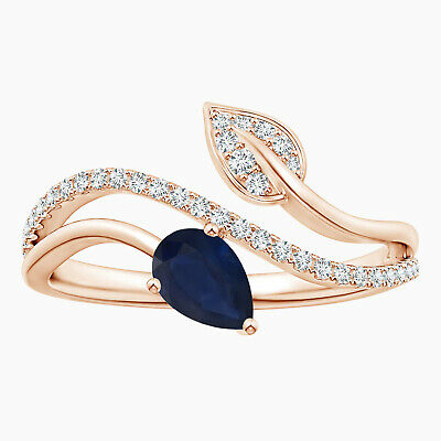 AU317.87 • Buy 0.70 Cts Pear Sapphire And Simulated Diamond Bypass Ring In 9K Rose Gold_x000D_