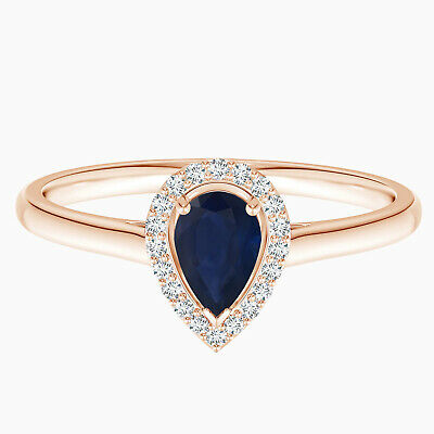 AU284.06 • Buy Pear Shaped Blue Sapphire Gemstone Solitaire Ring In 9K Rose Gold_x000D_