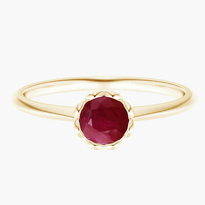 AU316.43 • Buy Classic Bezel Set Round Ruby Floral Engagement Ring 9K Yellow Gold