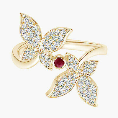 AU486.19 • Buy Butterfly Ring!! 9K Yellow Gold Round Ruby Gemstone Women Stackable Ring