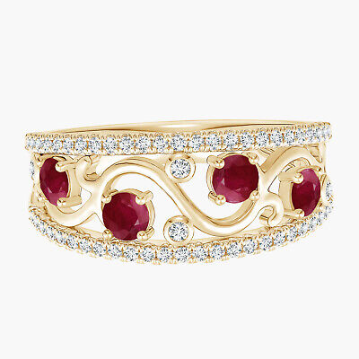 AU419.91 • Buy 9K Yellow Gold Nature Inspired Round Ruby Gemstone Stackable Ring