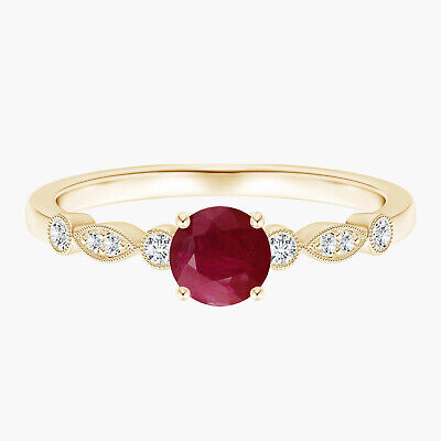 AU313.06 • Buy 0.75Cts Marquise And Round Ruby Engagement Ring 9K Yellow Gold