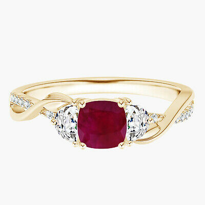 AU272.47 • Buy Half Moon Ring!! Ruby Cushion With Simulated Diamond 9K Yellow Gold