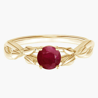 AU313.06 • Buy Crossover Ring!! Nature Inspired Round Ruby Stackable Ring 9K Yellow Gold