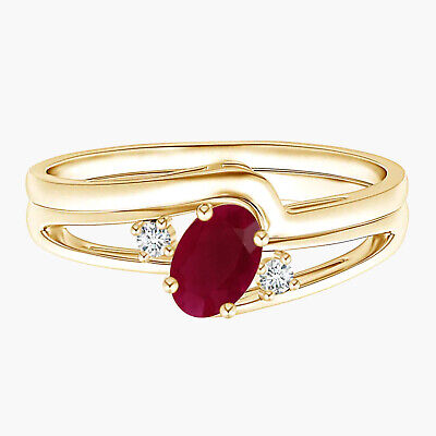 AU333.34 • Buy Split Shank Ruby Engagement Ring With Wedding Band 9K Yellow Gold