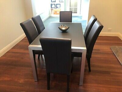 AU250 • Buy 6 Seater Glass Top Dining Table, With Leather Chairs,Nick Scali