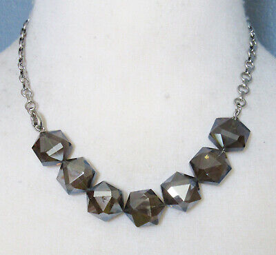 $ CDN0.13 • Buy Lia Sophia Jewelry Large Faceted Glass Necklace In Silver RV$86