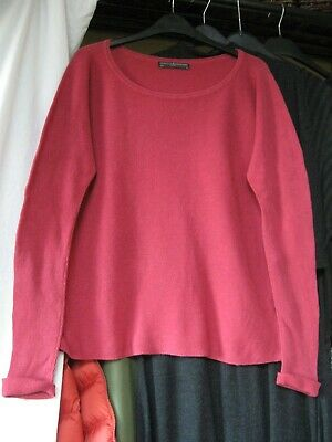 PERUVIAN CONNECTION  Arty Magenta Oversized Textured Cotton Knit CH 46  VGC M • 0.99£