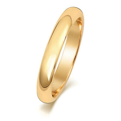 AU235.95 • Buy 9ct Gold Wedding Ring Yellow 3mm D Shape Ladies Gents Plain Band Free Engraving