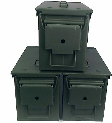 $20 • Buy 3-Mil-Spec M2A1 50 Cal Empty Ammo Cans
