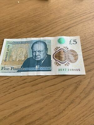 Serial AK47  Bank Of England Polymer £5 Five Pound Note Genuine New X1 • 7.99£