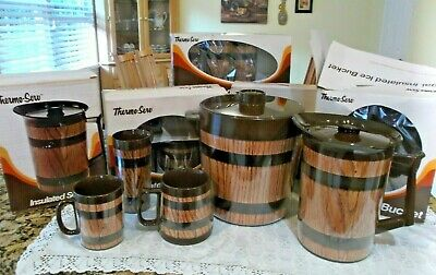 AU42.54 • Buy Vintage Thermo Serve Barrel Mugs, Tumblers And Server - 20 Piece Set Never Used