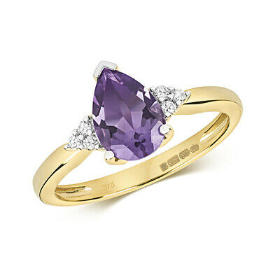 AU511.45 • Buy 9ct Yellow Gold Diamond And Pear Cut Amethyst Cocktail Ring