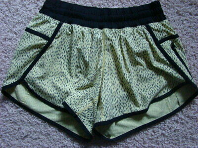 $ CDN15.61 • Buy LULULEMON Women's 6 Yellow Black SPOTTED TRACKER Animal Print ATHLETIC SHORTS
