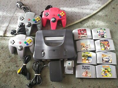 AU335 • Buy Nintendo 64 Console, 3 Controllers , All Cords, Rumble Pack And 8 Games
