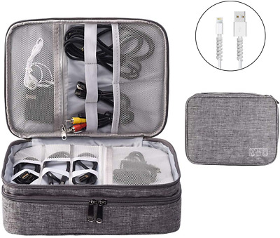 AU30.64 • Buy Accessories Bag Travel Electronic Cable Organiser 3 Layer Cables Case In Grey