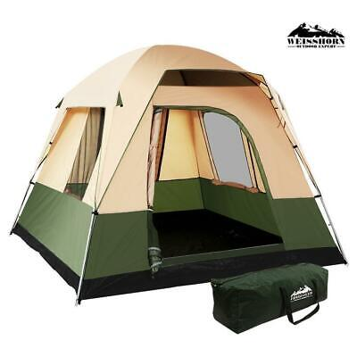 AU80.75 • Buy Weisshorn Family Camping Tent 4 Person Hiking Beach Tents Canvas Ripstop Green