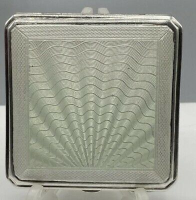 £199.99 • Buy Art Deco 1922 Solid Silver & Green Guillcohe Enamel Compact Joseph Gloster 103g