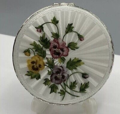 £249.99 • Buy 1960s Large Solid Silver & Guilloche Enamel Flower Compact London C&C 112g