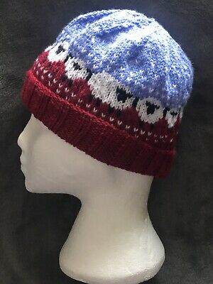 £15 • Buy Baable Sheep Unisex Adult Hand Knitted Beanie Hat Dark Red & Blue