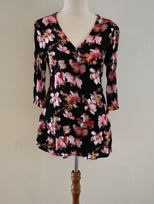 AU12 • Buy Mama Clothing - Size 8 - Floral Pink Wrap Breastfeeding Blouse Top