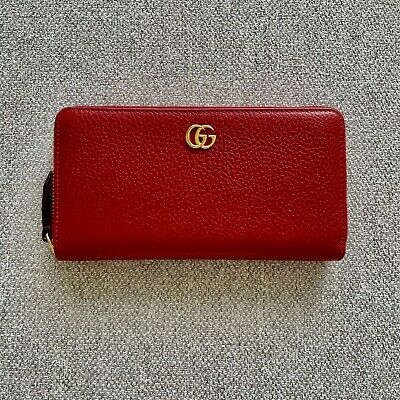 AU450 • Buy Gucci Hibiscus Red Leather Zip Around Wallet