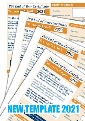 £15.99 • Buy P60 Forms X 2 FORMS EACH FOR 2018, 19, 20 & 21 SAGE IRIS/TAS PAYROLL Top Quality