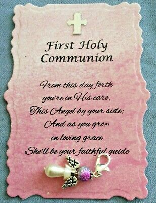 £3.25 • Buy Beautiful First Holy Communion (Pink) Angel Charm With Verse, Keepsake, Gift,
