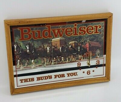 $ CDN114.87 • Buy Vintage Budweiser Clydesdale  This Buds For You  Clock Mirror Sign Wood Frame