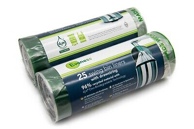 £10.99 • Buy Evaness Biodegradable STRONG Bin Liners With Drawstring - 50 Bags - 60-70L