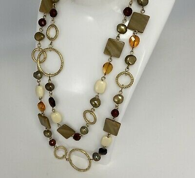 $ CDN6.27 • Buy Lia Sophia Signed Extra Long Stone Shell Circle Necklace Lot W Golds Browns +
