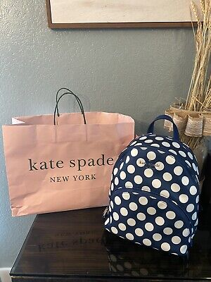$ CDN78.95 • Buy New Kate Spade Karissa Nylon Seaside Dot Medium Nylon Backpack Blue / White