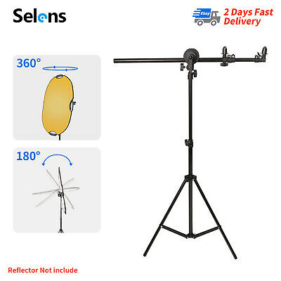 Photo Studio 60-175cm Reflector Holder Boom Arm + 2m Collapsible Light Stand • 15.99£