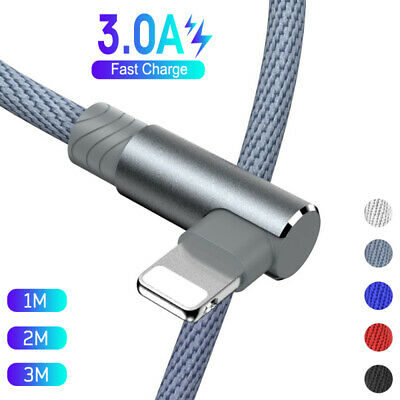 AU10.98 • Buy 2M 3M 90 Degree Fast Charge Charger USB Data Cable Lead For Apple IPhone IPad