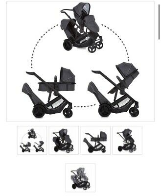 £120 • Buy Hauck Duett 3, Double Buggy, From Birth. Barely Used, Black And Charcoal Colour.
