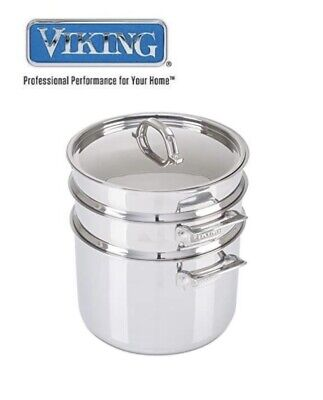 $ CDN143.73 • Buy Viking 3 Ply Stainless Steel 8 Qt Stock Pot With Glass Lid & Pasta Insert