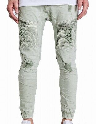 AU12.88 • Buy NXP Mens Jeans Sage Green Size 32 Moto Distressed Jogger Stretch $150 270