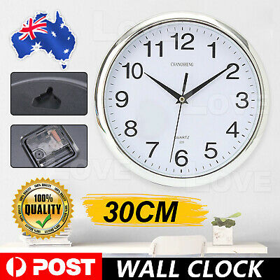 AU12.45 • Buy Silent Round Wall Mountable 30cm Quartz Analogue Clock Silver Home Office Decor