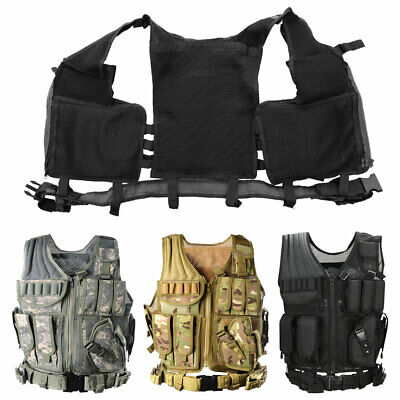 £14.59 • Buy Adjustable Tactical Vest Airsoft Molle Combat Paintball Army Plate Carrier Vest
