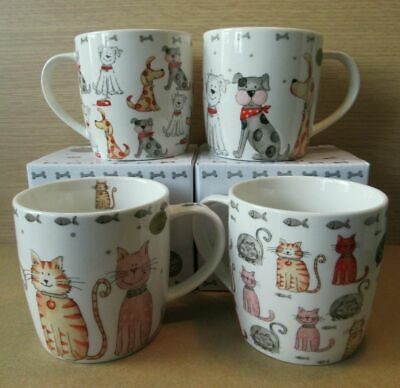 £10.99 • Buy NEW 1, 2, Or Set Of 4 Cartoon Cats & Dogs China Mugs Ginger Black Spotty Terrier