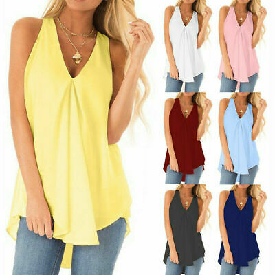 £7.99 • Buy Plus Size Womens Summer Chiffon Sleeveless Camisole Blouse Ladies Vest Tops Tank