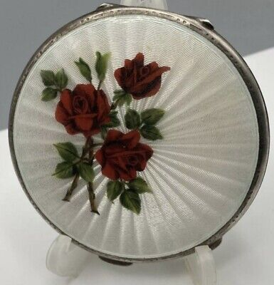 £249.99 • Buy 1957 Solid Silver & White & Red Rose Guilloche Enamel Turner & Simpson 105g