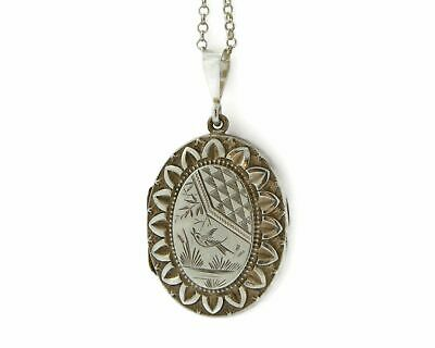 £90 • Buy Victorian Sterling Silver Locket With An Engraved Bird Motif