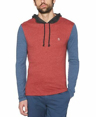 $ CDN12.52 • Buy Penguin Mens Hoodie Blue Red Size Small S Colorblock Jersey Knit Slim $79 214
