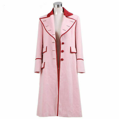 Doctor Who Fifth Doctor Romana Long Pink Cashmere Trench Coat Cosplay Costume MM • 38.79£