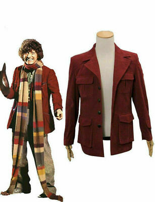 Doctor Who Fourth 4th Doctor Cosplay Costume Dark Red Corduroy Jacket Men Coat • 44.63£