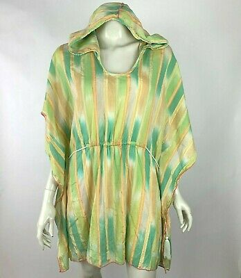 $ CDN50.08 • Buy Anthropologie Lilka Dyed Tunic Striped Swim Cover Cotton Blend Green Women Small