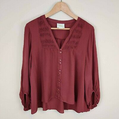 $ CDN30.06 • Buy Maeve Anthropologie Button Front Pleated Blouse V-Neck Size 8 Maroon
