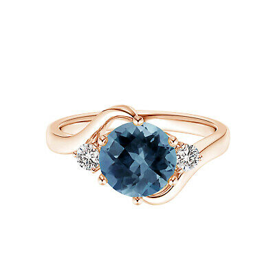 AU358.44 • Buy 7 MM Round Bypass London Blue Topaz 9K Rose Gold Ring With Simulated Diamond