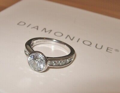 $ CDN25.63 • Buy Clear Diamonique Solitaire Ring Sterling Silver Size K Usa 5.5 Qvc  *engagement*